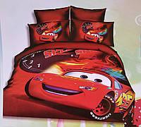 Подростковое постельное полуторное белье Тачки, 3D рисунок, 100% хлопок, фото 1