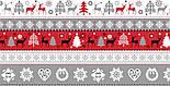 """Тканина новорічна """"Олені, ялинки і орнамент"""" червоно-сірі, №3005, фото 9"""