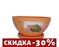 """Горшок цветочный """"Фиалка"""" художественная дорисовка на оранжевом 1л."""