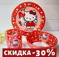 "Набор детской посуды ""Hello Kitty"" 3 предметный."