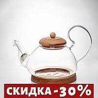 Чайник стеклянный 600 с бамбуковой подставкой.