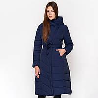 Зимняя женская куртка пуховик удлиненная с поясом Kiro Tokao Синий