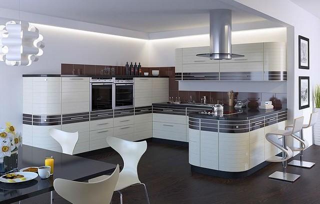 Белая кухня с крашеными фасадами Киев
