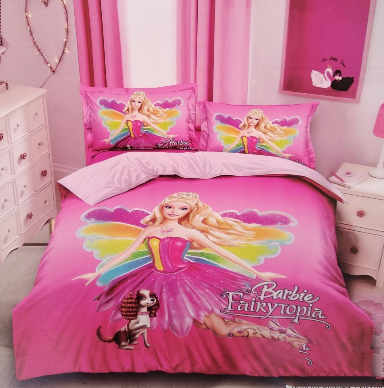 Детское полуторное постельное белье Барби ,100% хлопок
