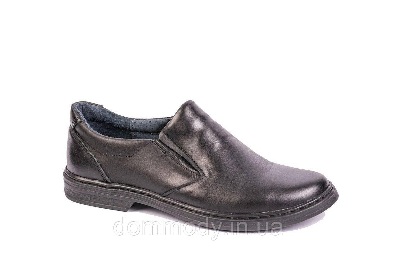 Туфли мужские из кожи черного цвета Elegant