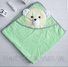 Махровое полотенце с уголком Мишка для купания, фото 3