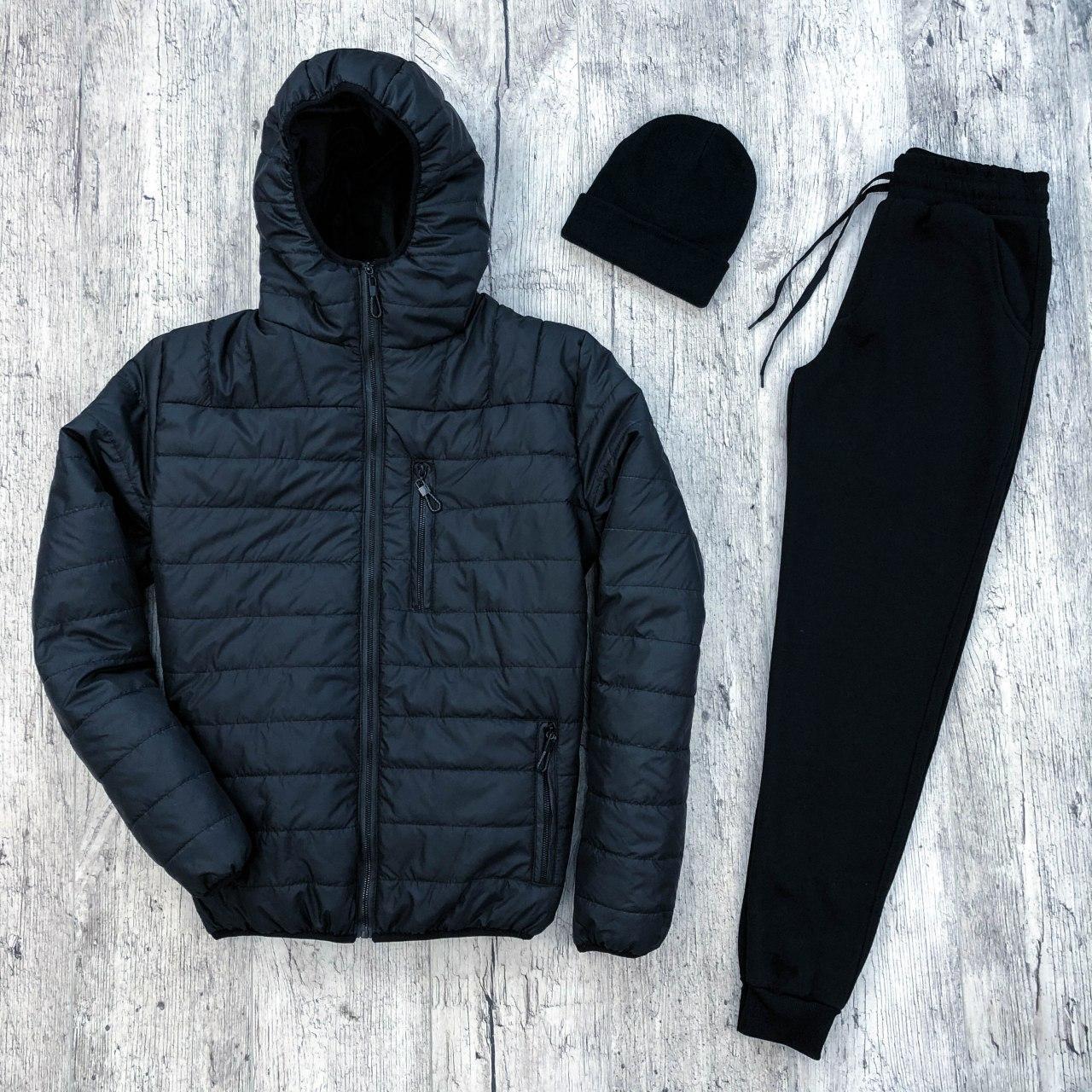 Мужской бомбер + утепленные штаны. Комплект мужской куртка+ штаны. Шапка в подарок