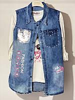 Комплект джинсова жилетка з трикотажної тунікою для дівчинки 8 років 128 см Damas