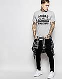 Футболка Adidas Адидас Ориджинал серая чёрный лого, фото 2