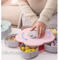 Вращающаяся тарелка-органайзер для закусок фруктов и сладкого двухъярусная, фото 3