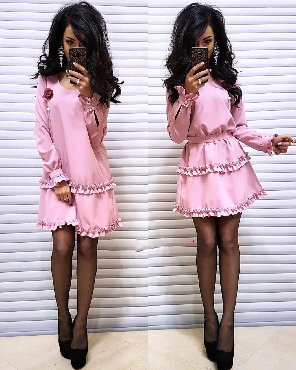 Платье с брошью свободное под пояс люкс