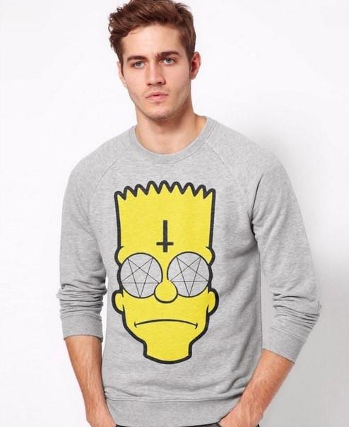 Свитшот серый мужской Bart Simpson Барт Симпсон | Кофта