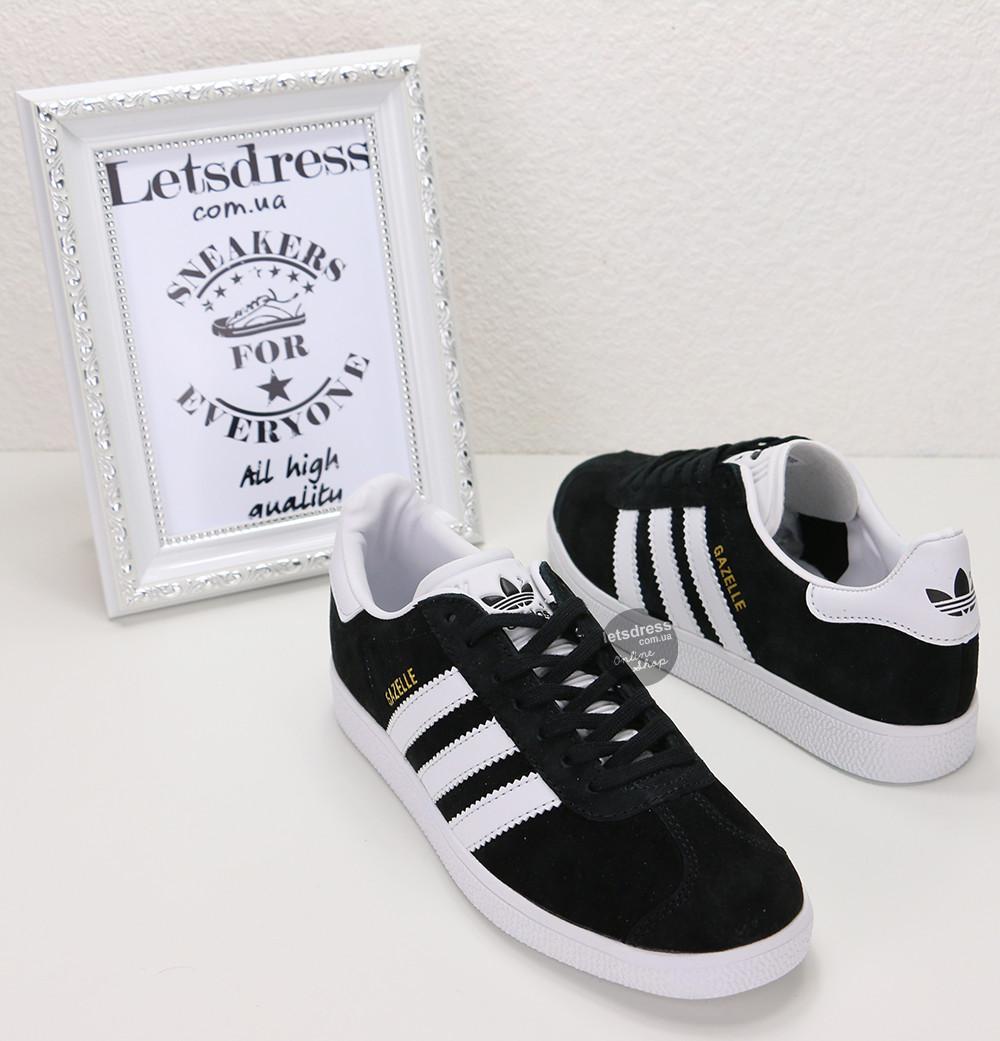 Кросівки жіночі Adidas Gazelle Black Адідас Газелі кеди чорні замша 37 38