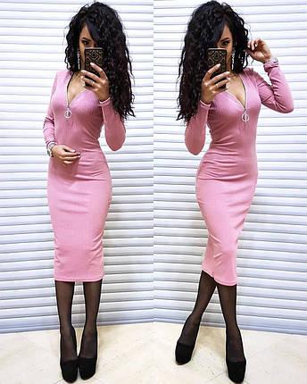 Сукня обтягуючі нижче коліна довгий рукав, фото 2