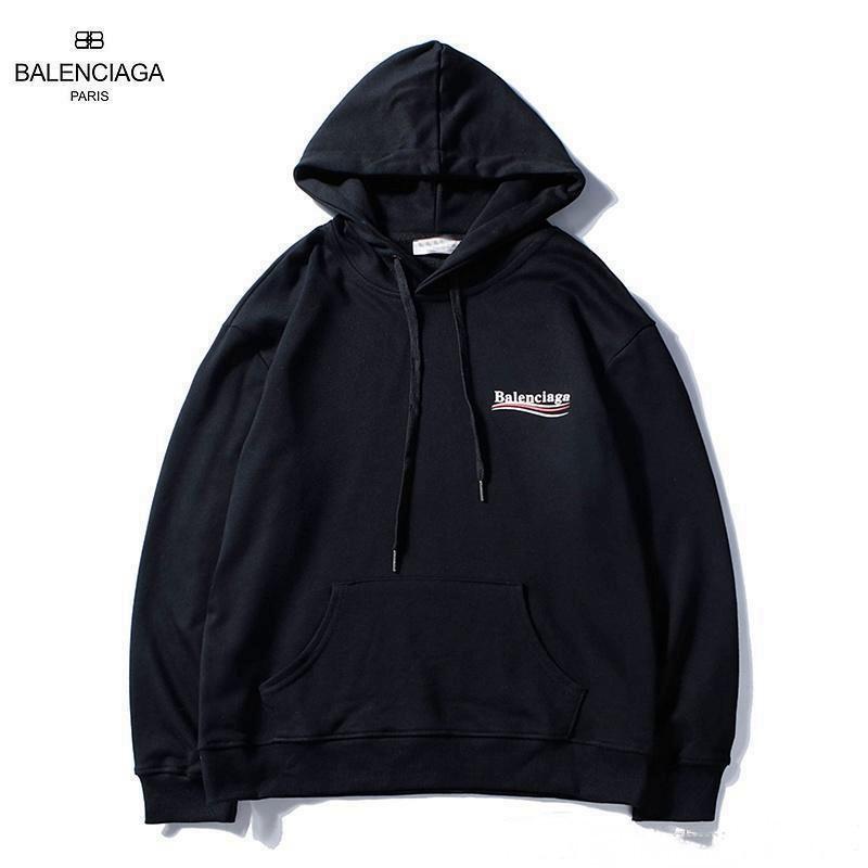 Худи Balenciaga 2019 Line черное с логотипом, унисекс (мужское, женское, детское)