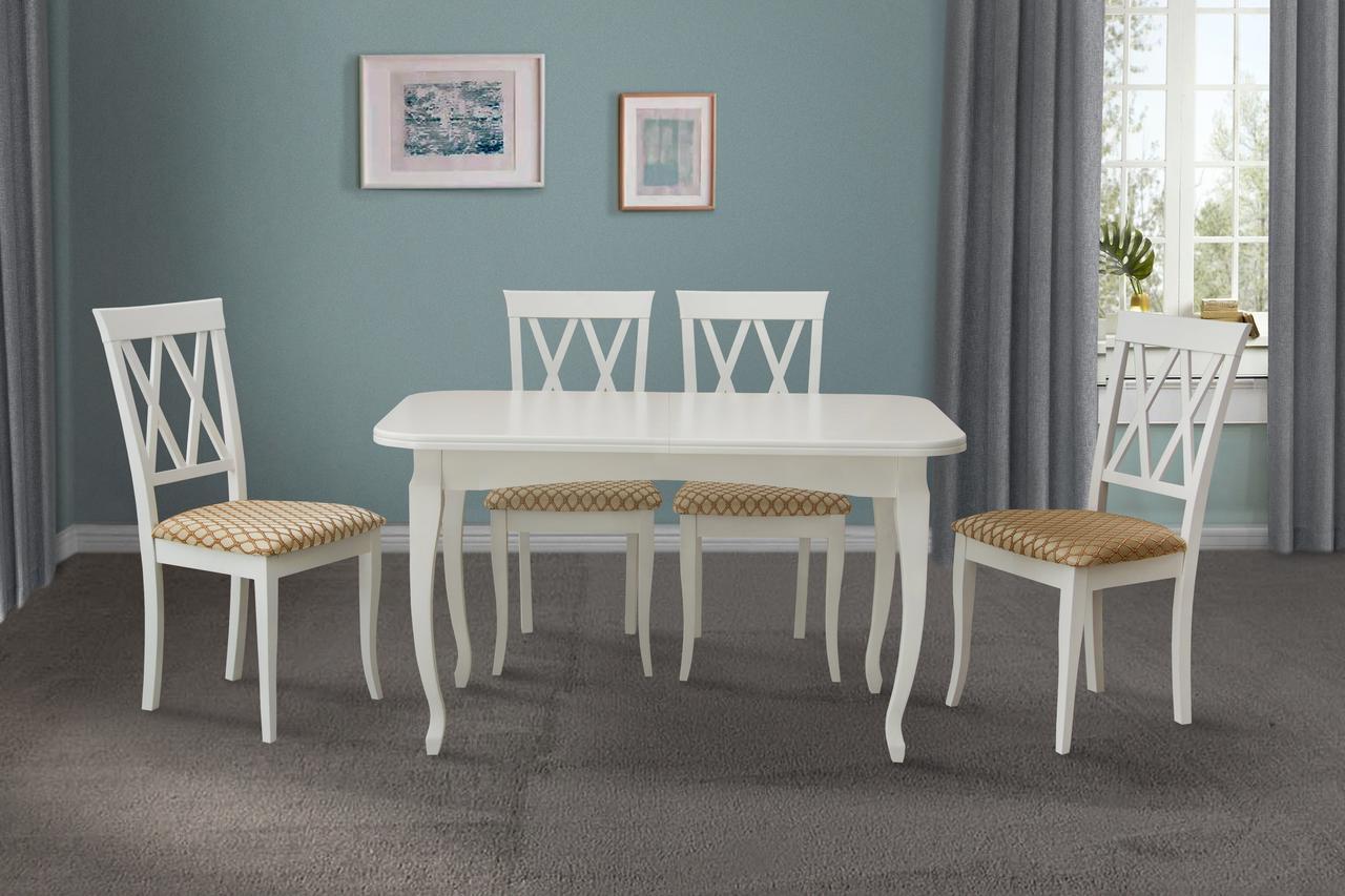 Стол обеденный Соренто 130-170 см (белый)