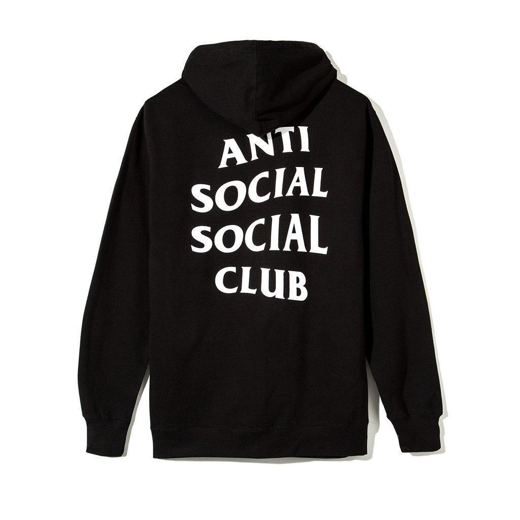 Худи Anti social social club (A.S.S.C) ZIP на замке-молнии черное, унисекс (мужское, женское, детское)