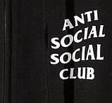 Худи Anti social social club (A.S.S.C) ZIP на замке-молнии черное, унисекс (мужское, женское, детское), фото 2