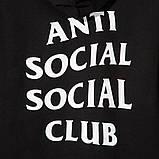 Худи Anti social social club (A.S.S.C) ZIP на замке-молнии черное, унисекс (мужское, женское, детское), фото 3