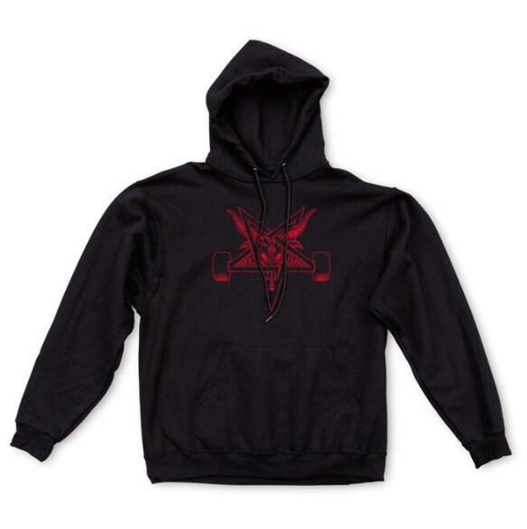 Худи Thrasher Wheels черное с красным логотипом, унисекс (мужское, женское, детское)