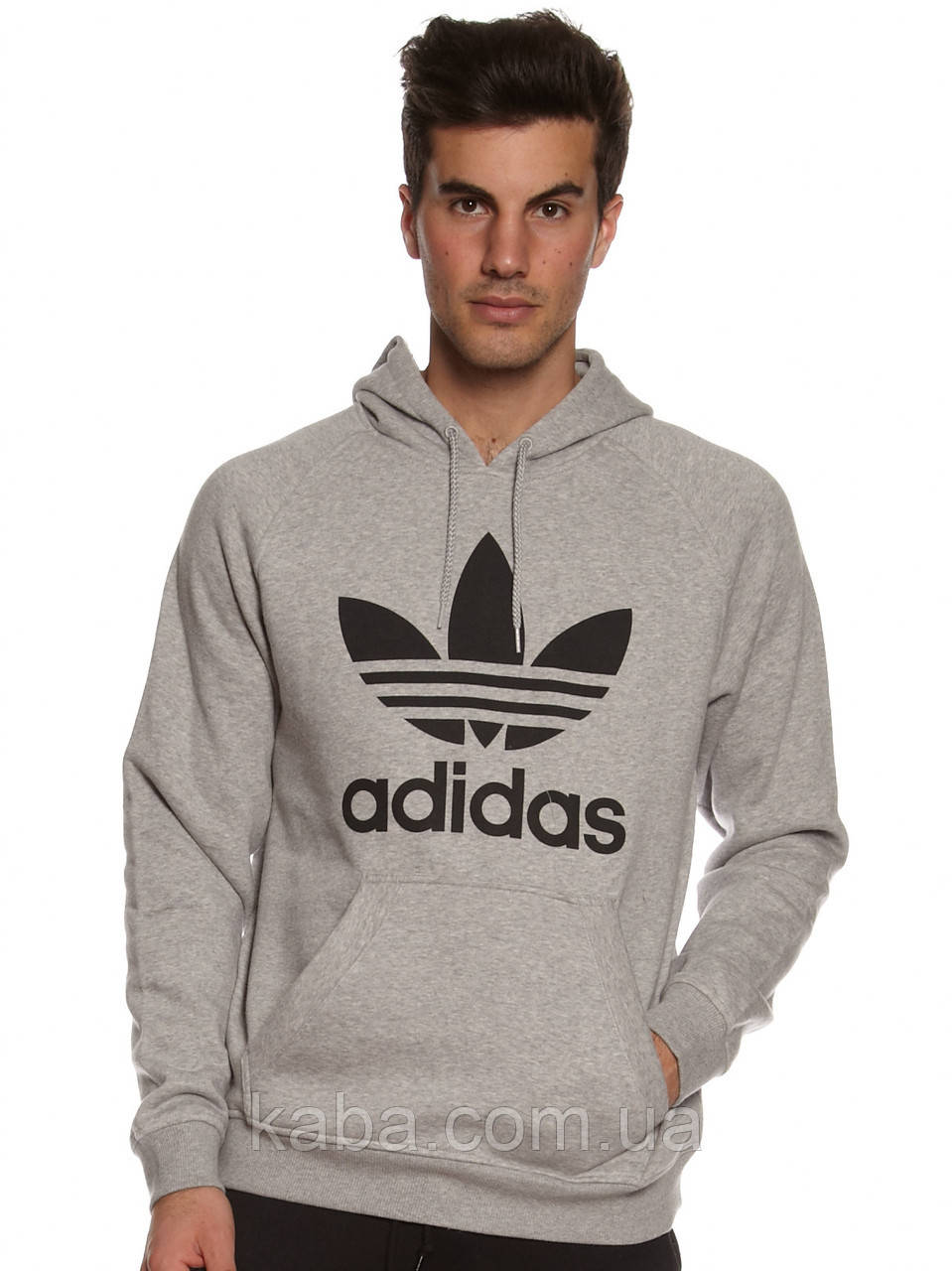 Худи Adidas Old School серое с черным логотипом, унисекс (мужское, женское, детское)