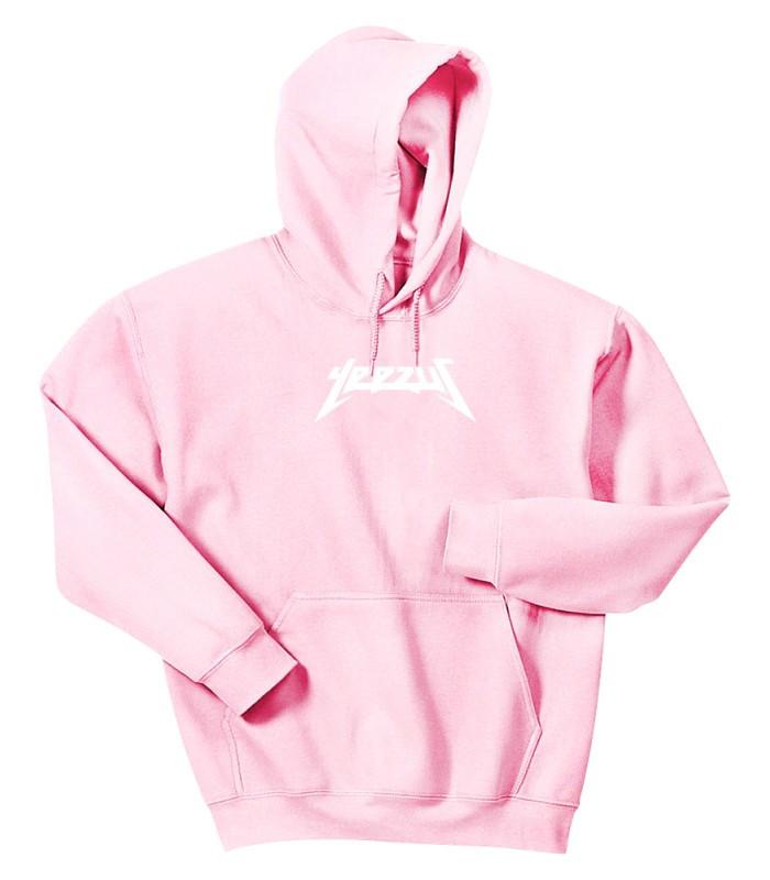 Худи Yeezus розовое с белым логотипом, унисекс (мужское, женское, детское)