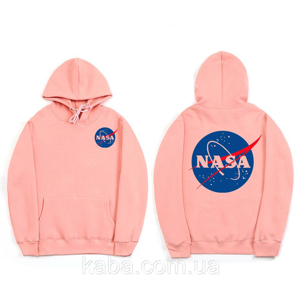 Худи NASA Two-Sided розовое, унисекс (мужское, женское, детское)