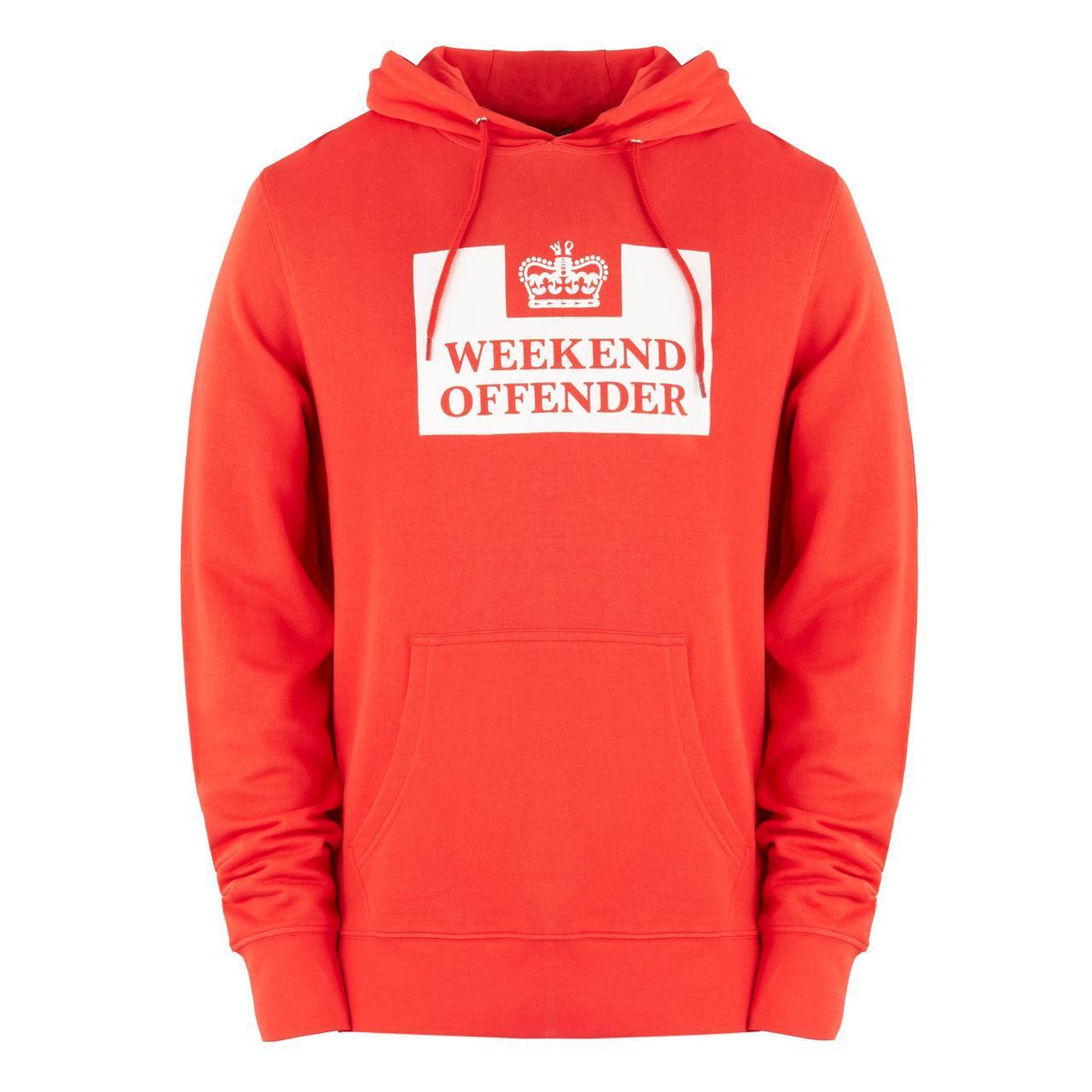 Худи Weekend Offender оранжевое с белым логотипом, унисекс (мужское, женское, детское)