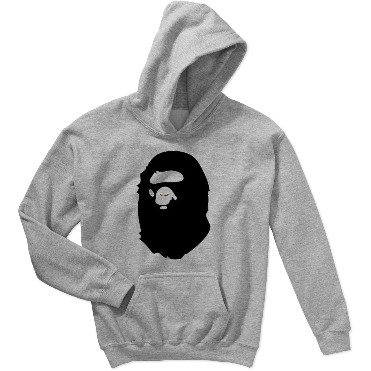 Худи BAPE A Bathing Ape серое с черным логотипом, унисекс (мужское, женское, детское)