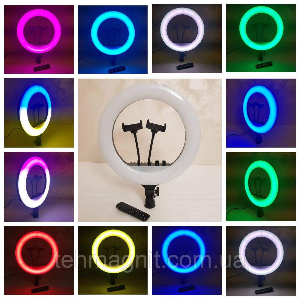 Лампа кільцева світлодіодна цветная RL-14 M36 RGB, з 2 тримачами для телефону, пультом