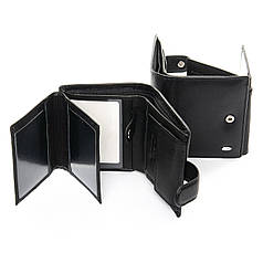 Кошелек мужской кожаный черный стильный DR. BOND M32