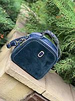 Жіноча сумка з натуральної шкіри і замша , синього кольору, на довгому ремені