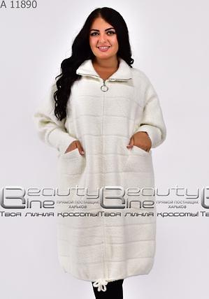 Пальто-кардиган из альпаки в большом размере Украина Размеры: 58-62 универсал, фото 2