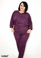 Женский  спортивный костюм большого размера,фиолетовый 50,52,54 56, фото 1