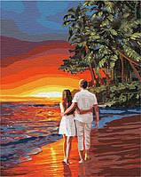 Роспись по номерам на холсте Романтика на побережье и влюбленная пара 40 на 50 см на подрамнике, фото 1