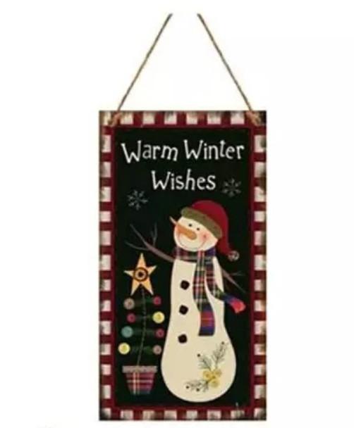 Новогодняя табличка с принтом Снеговика
