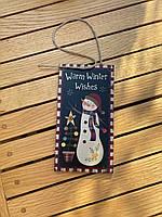 Новогодняя табличка с принтом Снеговика, фото 4