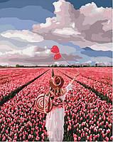 Розпис по номерам на полотні Рожева мрія і поле тюльпанів 40 на 50 см на підрамнику