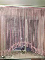 """Красивая арочная занавеска с ажурным макраме до подоконника """"Стефани"""", фото 1"""