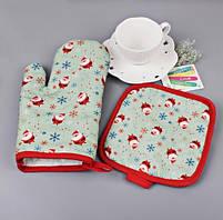 Новорічна кухонні рукавиця + прихватки з принтом Санта Клауса, фото 2