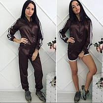 Костюм спортивный атласный шорты штаны и бомбер, фото 2