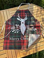 Новогодний кухонный фартук с принтом Merry Christmas, фото 3