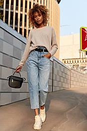 Укороченные джинсы с завышенной талией S8221 (40–48р) в расцветках