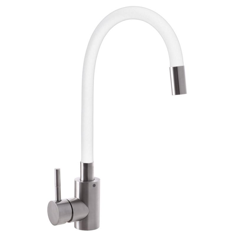 Смеситель для кухни MIXXUS SUS-011 (белый силиконовый излив) (SS2838)