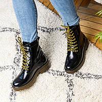 Ботинки женские кожаные черные лаковые осень/весна (натуральная итальянская кожа)