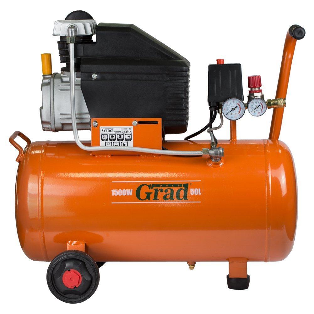 Компресор одноциліндровий 1.5 кВт 198л/хв 8бар 50л (2 крана) Grad (7043545)