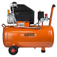 Компресор одноциліндровий 1.5 кВт 198л/хв 8бар 50л (2 крана) Grad (7043545), фото 1
