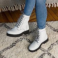 Ботинки женские кожаные белые осень/весна (натуральная итальянская кожа)