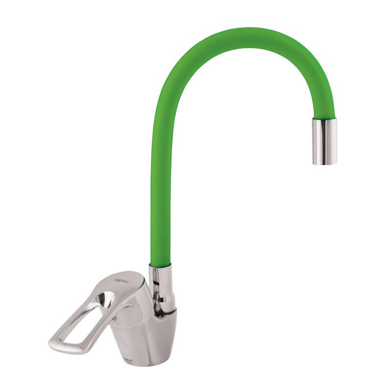 Смеситель для кухни ZERIX YUB 181 с зеленым гибким изливом (ZX0437)