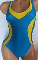 Купальник женский цельный спортивный желто-голубой